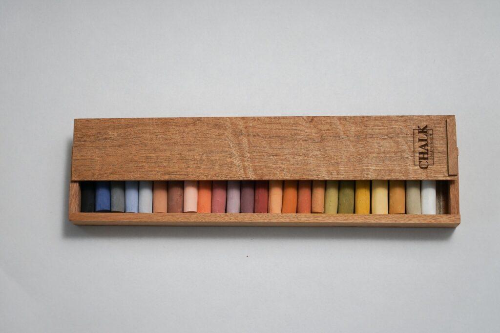 Naturlige kunstner pastelkridt i lang trææske